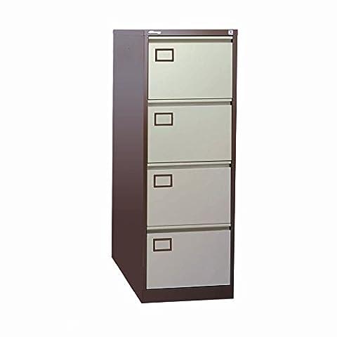Jemini 4-Drawer Lockable Metal Filing Office Cabinet with Anti-tilt Mechanism, Coffee/Cream