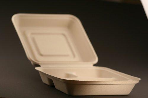 Bio Geschirr 3-geteilte Lunchbox B-18/50 900 ml Einweggeschirr Teller, Verkaufseinheit:Verkaufseinheit 50 Stk