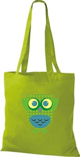 ShirtInStyle Jute Stoffbeutel Bunte Eule niedliche Tragetasche mit Punkte Owl Retro diverse Farbe, braun lime