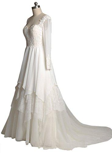 Milano Bride Faszierend Langarm Herzform Chiffon Hochzeitskleider ...