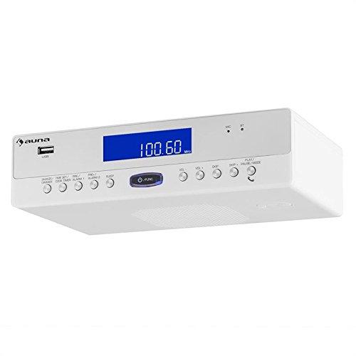 auna KR-100 WH • Radio de cuisine • Radio encastrable • Tuner FM • Bluetooth • 30 stations enregistrables • Recherche stations manuelle ou automatique • Réveil radio ou buzzer • Minuterie • Blanc