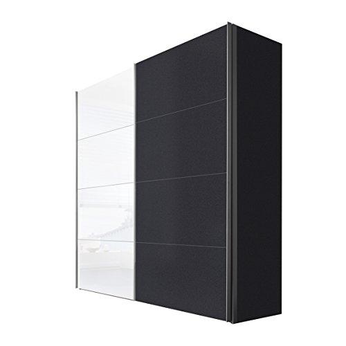 Express Möbel Schwebetürenschrank 2-türig mit Weißglas, Graphit Nachbildung, BxHxT 200x216x68 cm, Art Nr. 47340-971