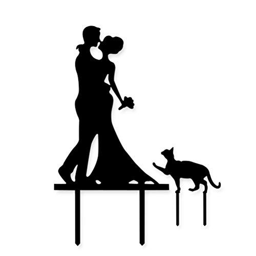 Cake Topper, UEETEK Kuchen Topper Acryl Küssen Paar mit Katze Kuchen Decor für Hochzeit/ Engagement/ Jahrestag Party (Decor Engagement Party)