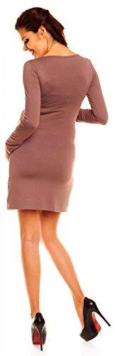 Zeta Ville - maternité robe de grossesse à taille froncée - femme - 931c Cappuccino