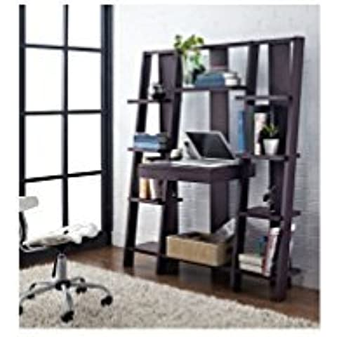 Ladder Bookcase/ Computer Desk with Modern Multiple Open Shelves (Espresso) by Altra