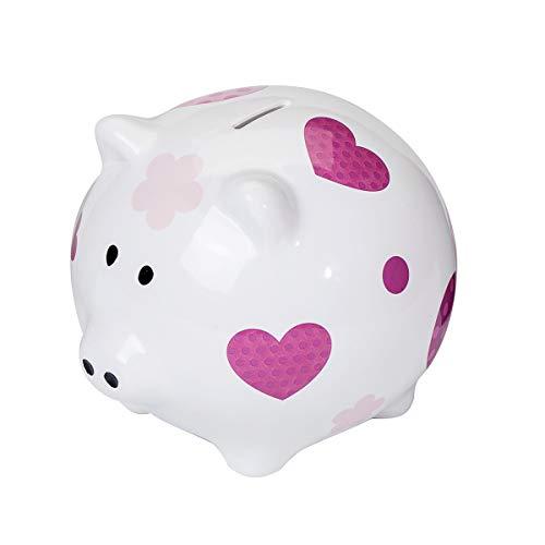 SPOTTED DOG GIFT COMPANY Großes Sparschwein XXL Spardose Weiß Keramik Schwein Piggy Bank mit Rosa Herz Design Geschenk für Mädchen Kinder Erwachsener Teenager mit Box