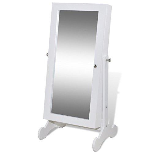 Festnight Weißer Spiegelschrank mit Schmuckständer und LED Licht 30 x 23 x 58,5 cm Schmuckschrank für Schmuck - Stauraum-insel