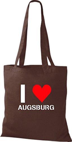 ShirtInStyle Stoffbeutel I LOVE AUGSBURG Deine Stadt diverse Farbe chocolate