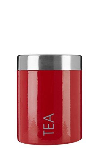 Premier Housewares 0508678 Boîte à Thé en Émail Rouge et Couvercles en Acier Inoxydable Satiné