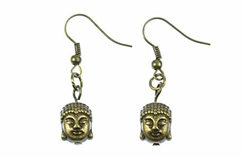 Buddha Ohrringe Hänger Miniblings Buddhakopf Buddhismus Indien Tibet Yoga Bronze