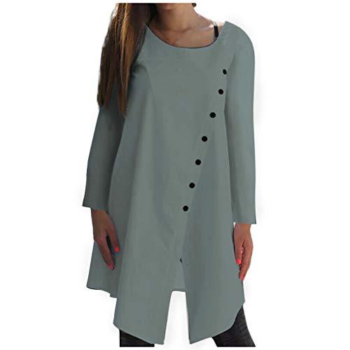 Huacat europäischen und amerikanischen Herbst Neue Damen Plain-Colored Runde Kragen unregelmäßige langärmelige Knopf Baumwolle Mode Frauen O-Ausschnitt Bluse -