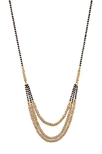 Ashvi American Diamond Gold Plated Pendant With Chain Mangalsutra For Women