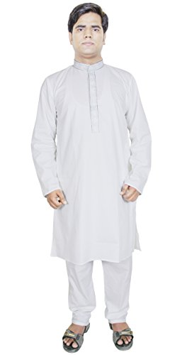 Vestito a camicia abbigliamento Kurta pigiama da uomo indiano mano vestito lungo bianco Taglia M