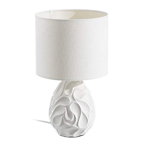 LOLAhome Lámpara de mesita de Noche geométrica contemporánea de cerámica Blanca de 42 cm