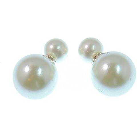 LaFemme Orecchini tribali classici, con doppia perla, perni in argento Sterling 925, sfera grande da 1,4 cm, sfera piccola da 0,8 cm