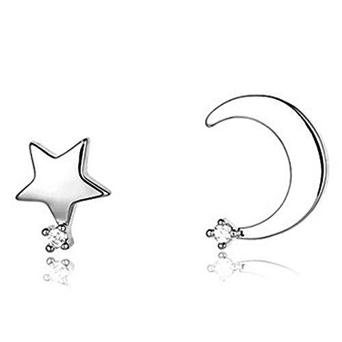 Fashion Orecchini 925Serling argento Mini Star e Mezzaluna crepuscolare Style Orecchini Gioielli Regalo Per Le Donne