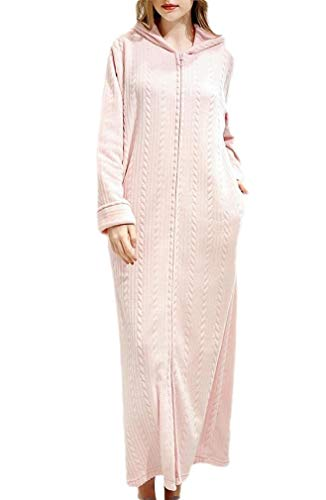 CuteRose Womens Hooded Nightgown Zips Cozy Sleeping Dress Cashmere Flannel Gown Pink M -