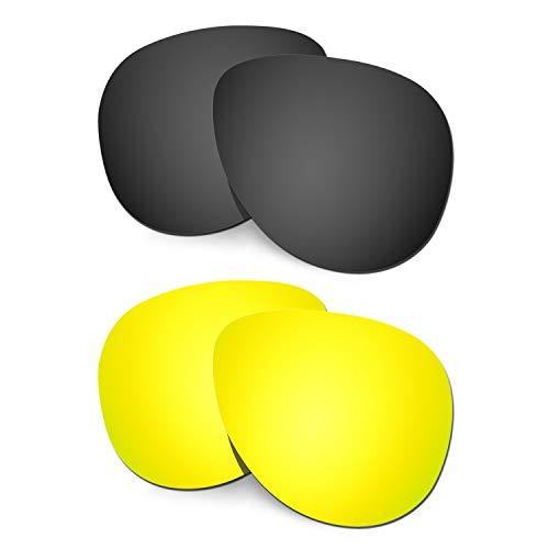 HKUCO Verstärken Ersatz-Brillengläser für Oakley Elmont (Medium) Schwarz/24 Karat Gold Sonnenbrille