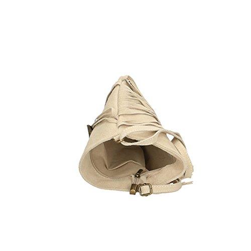 Chicca Borse Borsa a tracolla in pelle 21x24x2 100% Genuine Leather Beige