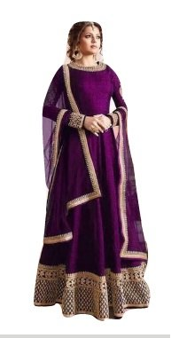 Drashti villa Woman's Purple Color Embroidered Semi-stitched Indo-Western Gown (J Purple)