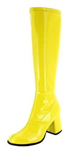Das Kostümland Gogo Damen Retro Lackstiefel - Gelb Gr. 39 - Tolle Schuhe zur 70er 80er Jahre Disco Hippie Mottoparty