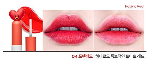 BTS BT21 X VT COSMETIC Glow Lip Lacquer - 4 Colors (#04 Potent Red (TATA)) - Lip Plump Color Shine
