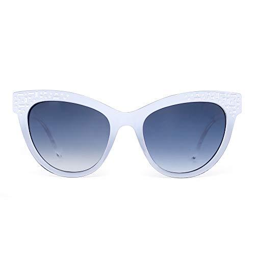 JM Luxus Verschönert Katzenauge Sonnenbrille Gradient Designer Schatten Damen UV400(Weiß/Gradient Blau Grau)