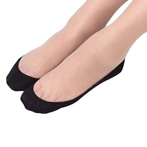 Cwemimifa Sneaker Socken für Individualisten, Baumwollspitze Rutschfeste Invisible Liner No Show Peds Niedrig geschnittene Socken WZ001 BK, Schwarz - Sportliche Ped Socken