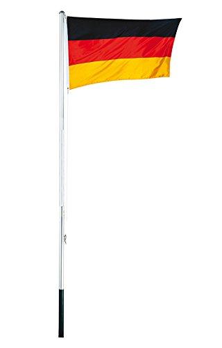 Mojawo Aluminium Fahnenmast Höhe 3,8m inkl.Deutschlandfahne 4 tlg. Fahnenstange Flaggenmast inkl. Bodenhülse