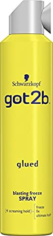 Schwarzkopf got2b Glued Blasting Freeze Spray, hairspray with glue for spikes & other hairstyles, hair product providing hold & finish, pack: 6 x