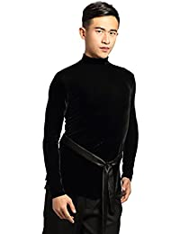 G5001 danza latina camiseta cuello de tortuga terciopelo para hombre proporcionada por GloriaDance (black, small)