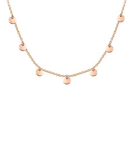 LUAMAYA Damen Boho Halskette | Verschiedene Edelstahl Ketten in Gold, Silber und Roségold | Globus, Coins, Plättchen, Layer, Weltkugel, Coins (Bea Roségold)