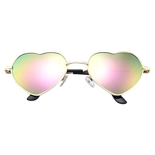 Dragon868 Herren Damen Metallrahmen Damen Herzform Sonnenbrille Lolita Love (F)