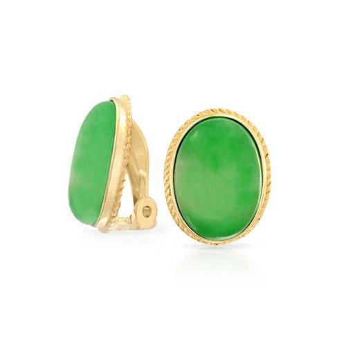 7 Ct Oval Grün Jade Edelstein Seil Einstellung 14K Vergoldet Sterling Silber Ohrclips Ohrringe Clip Ist Legierung