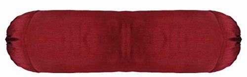 Zafferano seta artificiale Borgogna 12,7cm cuscino cilindrico federa Round ruolo Yoga massaggio collo cuscino rimovibile (Massaggio Del Collo Cuscino)