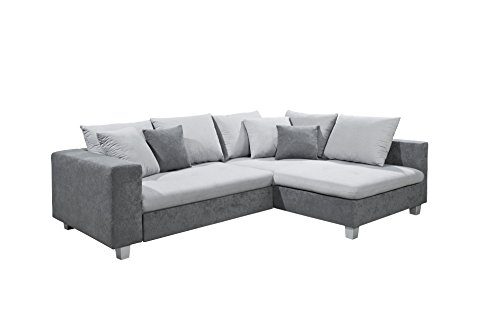New Level Sole Polsterecke, 2 Sitzer mit Funktion, Recamiere Stoff, 106 x 248 x 90 cm, anthrazit / hellgrau