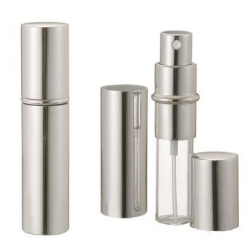 Boolavard ® TM alluminio bottiglia di profumo 5ml ARGENTO Unisex Viaggi pompa spray Profumo anodizzato mano di profumo di vetro bottiglia di profumo atomizzatore riutilizzabile