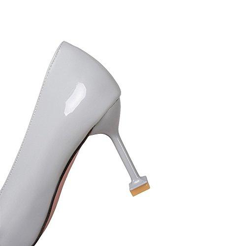Alto Donna Grigio Tacco Colore Tagliente Scarpe Dipinta Prende In Chiaro Solido Voguezone009 qEwHx0TSx
