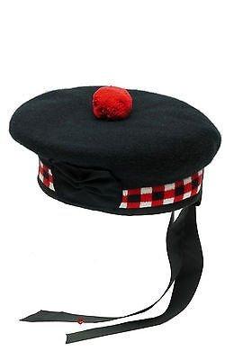 100% Pure Wolle Schottisch Balmoral Gewürfelt Mütze Rot,Weiß& Schwarz balmoral Hat...