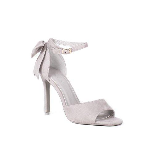 Ideal Shoes Sandales à Talon Effet Daim avec Nœud Ilena Gris