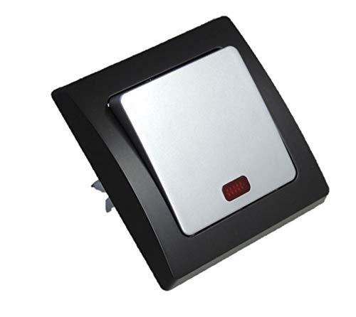 Wechselschalter Einbau D silber schwarz mit Kontrolllampe Elektro Schalter