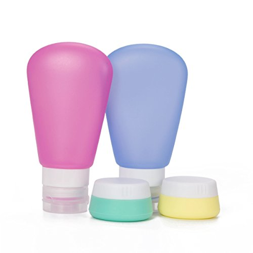 Preisvergleich Produktbild Reise-Flasche, Elebor Satz von 4 Squeezable & Nachfüllbare Silikon Reiseflaschen Organizer Reisecontainer für Kosmetik Shampoo oder Flüssigkeiten mit zugelassenem TSA Carry-on (2 * 89ml, 2 * 20ml)