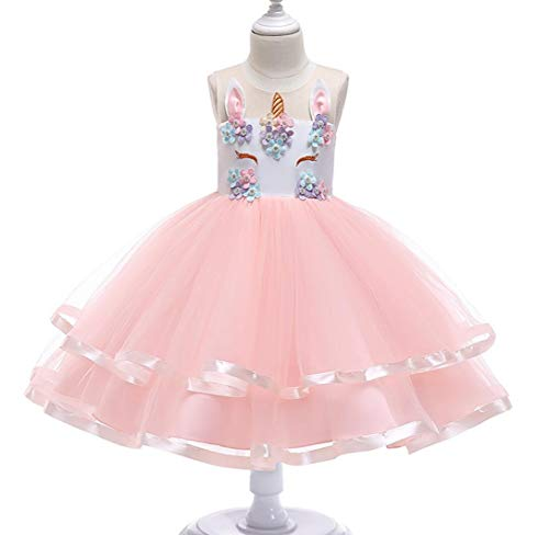 ZYLL Girl Pageant Dresses, Festive Dress Unicorn Children ' S Wear for Fancy Dress Halloween Kostüm Hochzeit Party,Pink,150CM