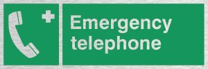 Viking Schilder sv411-l31-ms Notfall Telefon Sign, marine Grade Edelstahl, 100mm H x 300mm W (Viking Notfall-telefon)