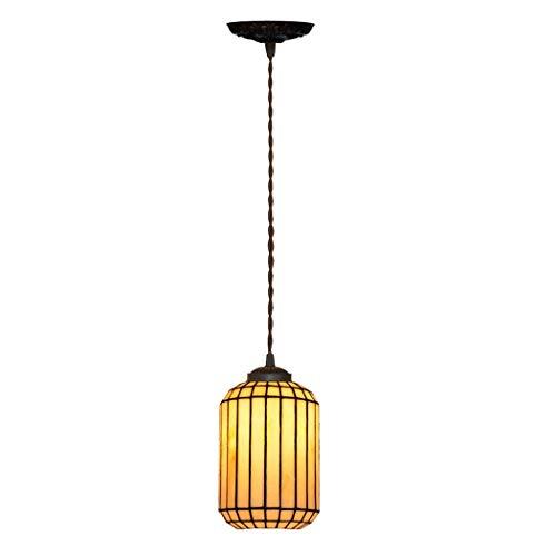 European Style Tiffany pendente semplice vetro macchiato luce lampada a sospensione Vintage capo singolo calda luce del lampadario a bracci for Camera Hotel Cafe Restaurant plafoniera DENG20190926