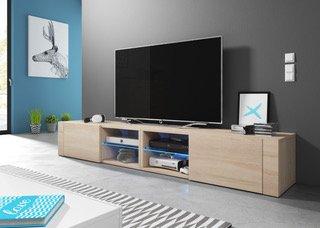 ELEGANT 2 DOUBLE Lowboard TV Cabinet/TV Bench (200 cm, Sonoma Oak with LED Lighting)
