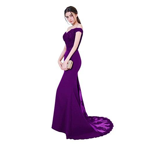 Aiyana Damen Elegantes V-Ausschnitt Rueckenfrei Kleid Bodenlang Langes Spitze Schulterfrei Rosa Meerjungfrau Abendkleid (Elegante Meerjungfrau Kleid)
