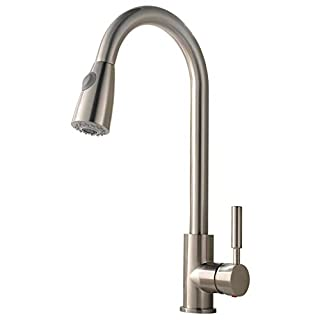 VCCUCINE Solid Brass Brushed Nickel Swivel Spout Sink Pull Out Sprayer Kitchen Mixer Taps, Sink Tap With Pull Down Dual Functional Nozzle