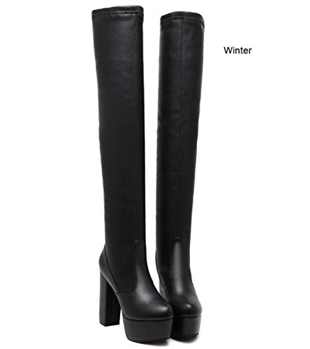 DANDANJIE Womens Over The Knie Stiefel Super High Heel Stiefel Oberschenkel-High Fashion Damen Herbst Winter Stiefel Schwarz für Party Club (Farbe : Winter, Größe : 34 EU) -