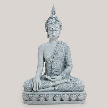 Deko-Buddha sitzend, ca. 39 cm hoch in grau